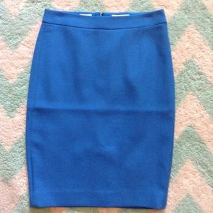 J CREW pool blue no. 2 pencil skirt wool 0